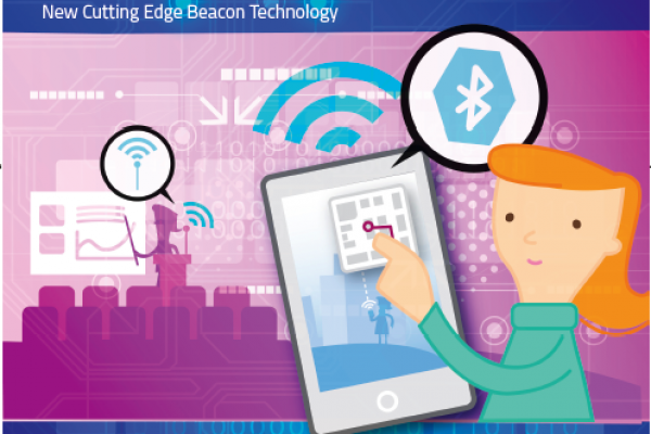 Picture of a person attending a conference using Beacon technology